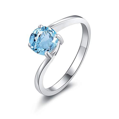Beydodo Sterling Silber Ringe Damen Rund Blau Topaz Trauring Freundschaft Ring Silber Gr.65 (20.7)