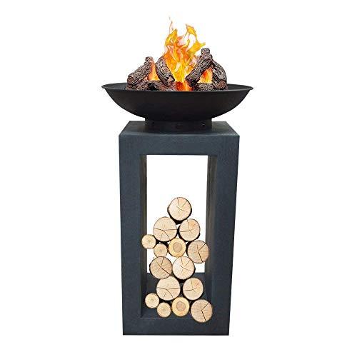 Druline Feuerschale, Durchmesser 39,5 cm, schwarz, 39.5 x 39.5 x 68.5 cm, FS01