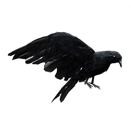 SODIAL Accesorio de Halloween Cuervo de Plumas Pajaro Grande 25x40cm Juguete Cuervo Negro de alas extendiendas Juguete Modelo, Accesorio de actuacion