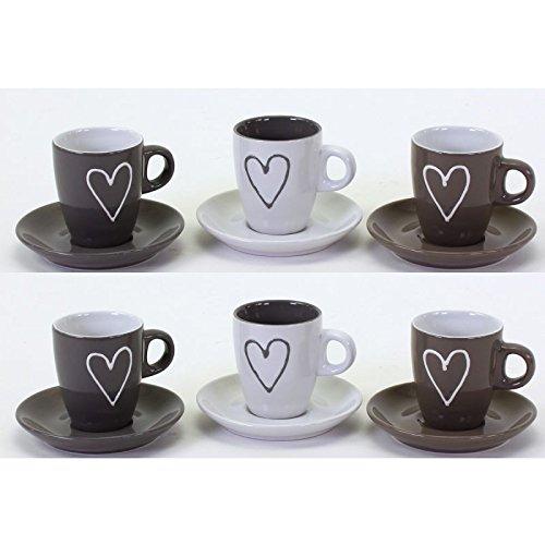 6 x Espressotassen mit Untertassen stilvoll farblich abgesetzt mit Herz