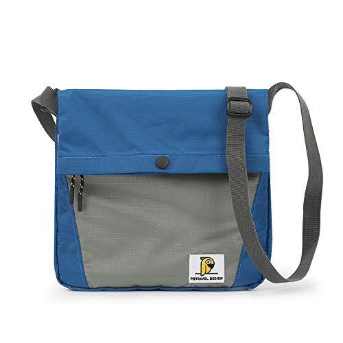 FANDARE Sac Bandoulière Sacoche Crossbody Messenger Bag Sac d'épaule Briefcase Hommes Femmes Grand Sac de Sport Travail Ecole Cartable Garçon Fille Imperméable Nylon Bleu