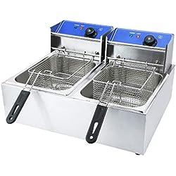 Friteuse en acier inoxydable 12L 5000W - Double friteuse électrique - 2 x 6L - Pour restaurant