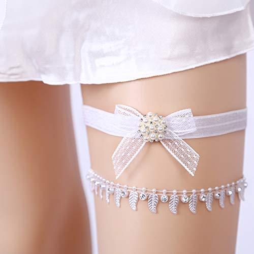 Strumpfband Set Hochzeit Strumpfband Wette mit Perlen Braut mit Schleife verschönern Prom Geschenk ()