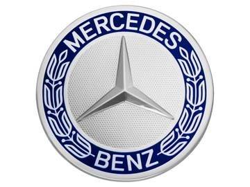 Preisvergleich Produktbild Original Mercedes-Benz & AMG Radnabenabdeckungen Durchmesser ca. 74-75mm schwarz/silber/Lorbeerkranz (Lorbeerkranz blau)