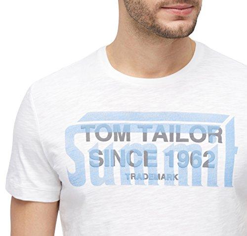TOM TAILOR Herren T-Shirt Tee with Print Technique Mix blanc de blanc white