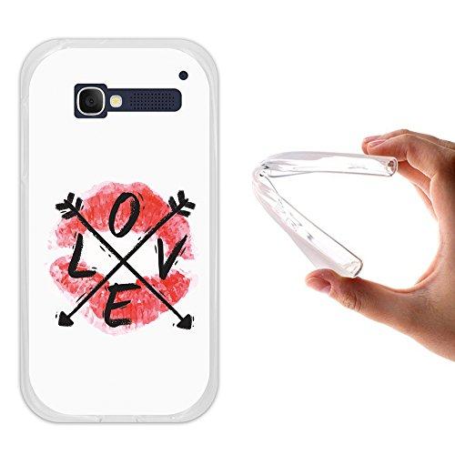 WoowCase Alcatel One Touch Pop C5 Hülle, Handyhülle Silikon für [ Alcatel One Touch Pop C5 ] Love Lippen Handytasche Handy Cover Case Schutzhülle Flexible TPU - Transparent