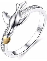 fb069a62135a Yiyue Precioso Exclusivos Anillos Ringstylish Romántico Señoras Anillos  Anillos De Color Doble Chapado Anillo De Bodas