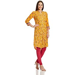 Rangriti Women's Straight Kurta (RMMMARRAKES2812_Yellow_38)
