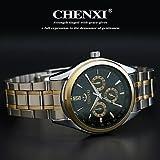 Fenkoo Hombre Reloj de Pulsera Cuarzo Japonés Reloj Casual Acero Inoxidable Banda Plata Marca- CHENXI®