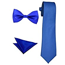 6b219ec50cf2 ShopLuvOnline Combo Set of Royal Blue Necktie and Royal Blue Bow Tie With  Free Royal Blue