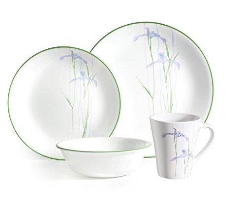 Corelle Vitrelle Tafelservice aus Glas mit schattenfarbener Iris- und bruchsicherem Glas, Grün/Violett, 16-teilig - Iris Glas
