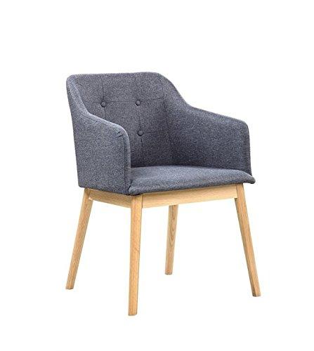 SalesFever® Armlehnstuhl Ando Anthrazit, Esszimmer-Stuhl mit Stoffbezug modern gepolstert, Massive Holzfüße Eiche, Wohnzimmer-Stuhl Sessel mit Armlehnen