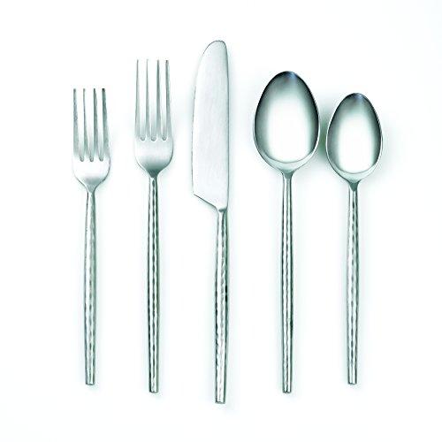 Cambridge Silversmiths 20 Piece Indira Rani Satin Flatware Set, Silver Satin Steel Spoon