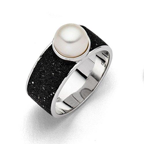 """Ring """"Lavasand/Perle"""" rhodiniert 925er Silber Größe 58 (18.5)"""