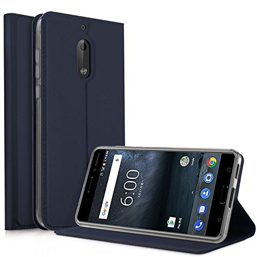 Nokia 6 2018 Hülle, iBetter Nokia 6 2018 Flip Bookstyle Kompletter Hüllen Mit Magnetverschluss & Standfunktion Tasche Etui Hüllen Schutzhülle für Nokia 6 Dual SIM Smartphone VERSION 2018(Blau)