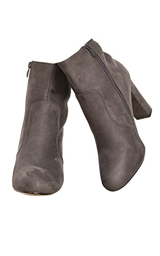 Women's Ladies Stunning Faux Suede Glam Heeled Boots Grey