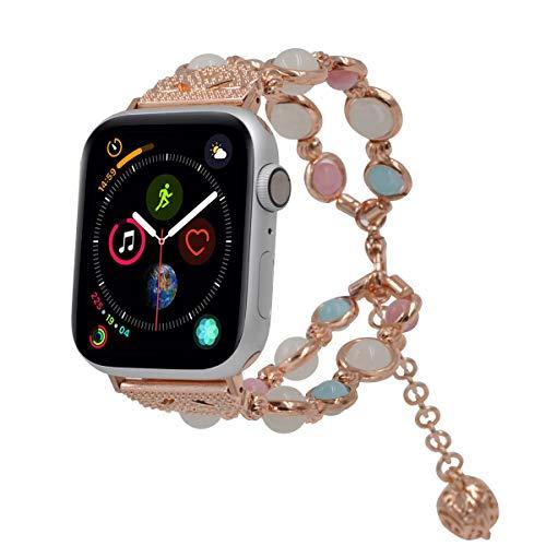 Aimtel Kompatibel mit Apple Watch Armband 38mm 42mm 40mm 44mm Series 1/2/3/4, Leicht Verstellbares Nacht Leuchtend Frau Iwatch Armband(Roségold 42mm) - Frau Weihrauch