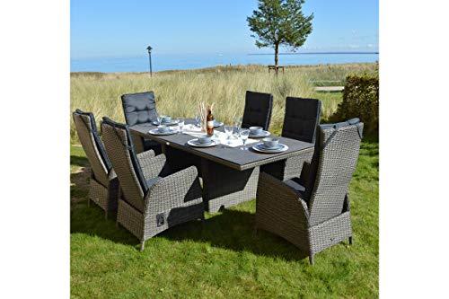 Ploss Rocking Dining Set grau braun-meliert aus Polyrattan-Geflecht Tisch 220x100 cm, 6 Sessel, Sitzlounge Rattan, Gartenmöbel