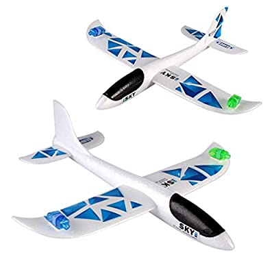Spritumn 1 Pc Glider Airplane Toy ,Foam Throwing LED Lights Inertia Aircraft Drone Toy Bi-wing Plane Hand Launch Airplane Model for Kids and Adults