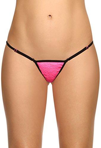 Da donna apertura regolabile Perizoma in pizzo a vita bassa Fuchsia (Victorias Secret Pizzo Thongs)