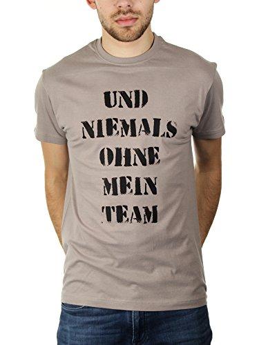 Und Niemals Ohne Mein Team - Herren T-Shirt von Kater Likoli, Gr. L, Light Gray (T-shirt Vater Light)