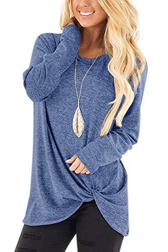Damen Pulli Lose Asymmetrisch Langarmshirt mit Rundhalsausschnitt Hellblau M (Rundhalsausschnitt Mit Damen-langarmshirt)