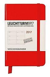 Leuchtturm1917 348165 Wochenkalender Mini A7 2017, Rot