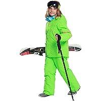 LPATTERN Traje de Esquí para Niños/Niñas Traje de Nieve Grueso Impermeable para Deportes de Nieve, Verde+Verde, Talla:146-152/10-11 años