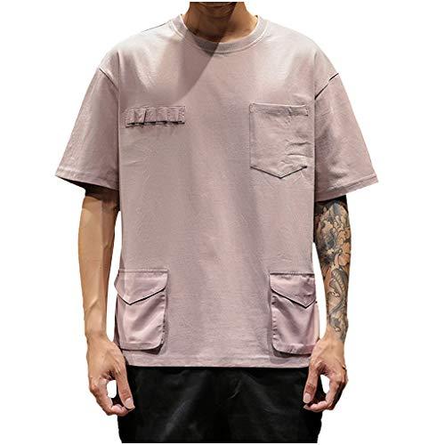 Eaylis-Herren tops T-Shirt Kurzarm Casual Volltonfarbe Rundhals Kurzarm T-Shirt Tooling -