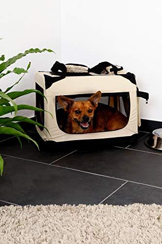dibea TB10041 Hundetransportbox Hundetasche Faltbare Autobox Kleintiertasche (Größe und Farbe wählbar), beige