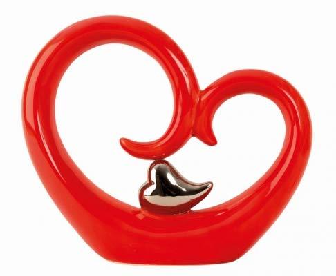 IKO Escultura Decoración Corazón Modern Rojo Decoración Decoración Corazón Plata 22 x 26 cm