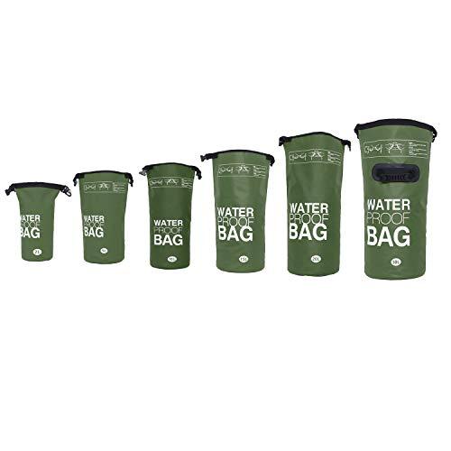 DonDon wasserdichter Outdoor Dry Bag Beutel Sack Trockentasche Trockenbeutel mit Riemen Oliv 10 Liter -