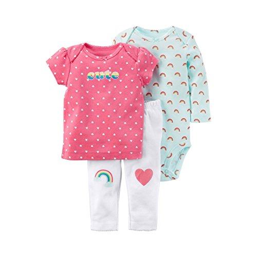 CARTER´S 3-tlg. Set T-Shirt, Body langarm und Leggings Regenbogen rosa 74 (Carters-bodys Mädchen)