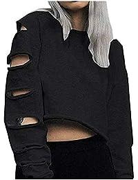 Shujin Damen Mode Straße Schulterfrei Pullover Distressed Cropped Top Kurz  Sweatershirt Cut Out Hohle Loch Langarmshirt Bauchfrei… b9cbaa2c52