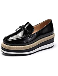 cd5e50205b09a Femmes Plate-Forme Oxford Chaussures Bowtie Brogue PU Cuir Verni Creepers Bout  Rond Solides Dames