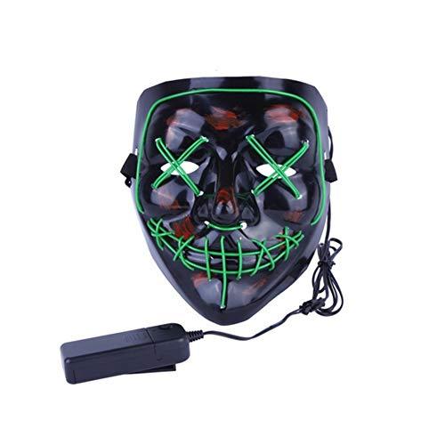 Romote Halloween-Maske Scary Cosplay LED-Kostüm-Schablonen-Wire Light Up Für Halloween Festival-Party-Grün (Scary Halloween Schablonen)