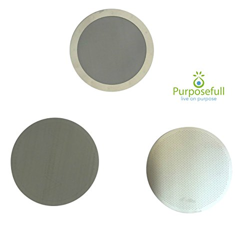 purposefull Set von 3 AeroPress Filter - Edelstahl Metall Coffee Filter - 1 x fein Mesh - 1 x Disk Version - 1 x Stoff-Filter - ermöglicht Natürliche Öle - entfernt Papier Geschmack