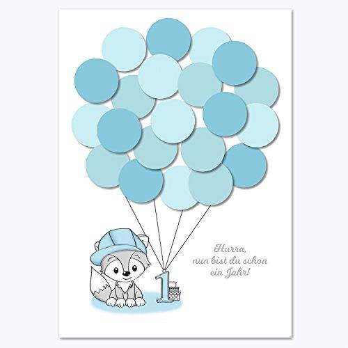 (Erster Geburtstag, 1. Geburtstag Geschenk, Gastgeschenk, Deko, Andenken, Idee, Glückwünsche, Fingerabdruck, Erinnerungsstück, Fuchs, junge, blau)
