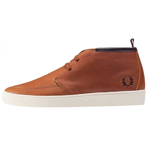 Fred Perry Shields Mid Leather Tan Marron