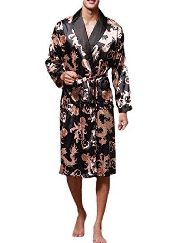 CuteRose Men's Lightweight Satin Spa Robe Belted Design Kimono Cardigan Pajamas Black L -
