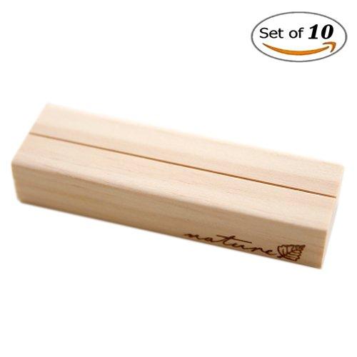 Sfghouse Confezione da 10pezzi di supporti da tavolo in legno, clip per note creative, porta nome, memo, numero, luogo, foto disponibili in 3dimensioni , Legno, White, large