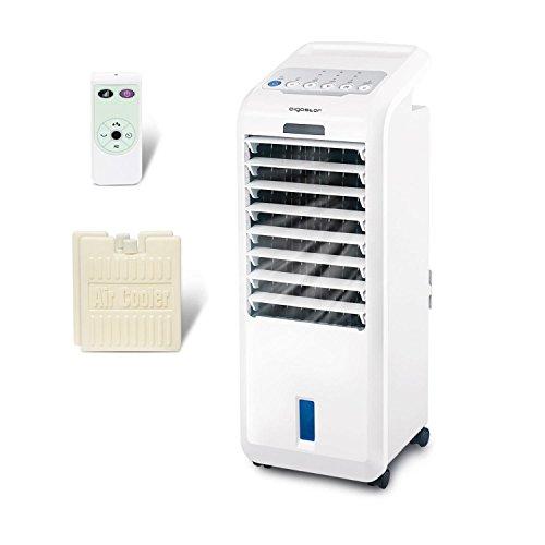 Aigostar koud 33jtl - ventilatore raffrescatore, refrigeratore d'aria. 55w, 3 modalità selezionabile con telecomando. timer 7 ore. 5 litri. 2 blocchi ghiaccio inclusa.