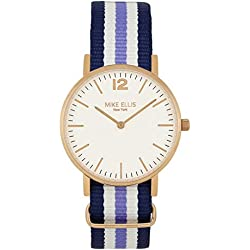 Mike Ellis New York Women's Quartz Watch with White Dial Analogue Display and Nylon Multicolour - SL4564F4