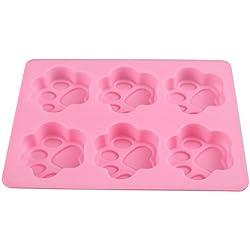 Soledi Molde de silicona, flexible, 3D, en forma de pata de gato, para tarta, helado, gelatina, galleta o chocolate, color aleatorio