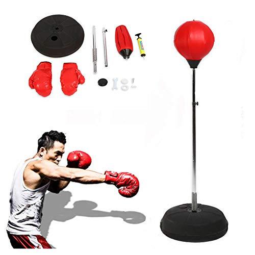 Pera adultos Juego de boxeo con guantes y soporte ajustable altura 120 - 150 cm rojo