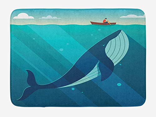 LULABE Whale Bath Mat, Huge White Whale Under The Ocean with Sailor on Water with Rays of Sun Print, Plush Bathroom Decor Mat with Non Slip Backing, 23.6 W X 15.7 W Inches, Blue and White
