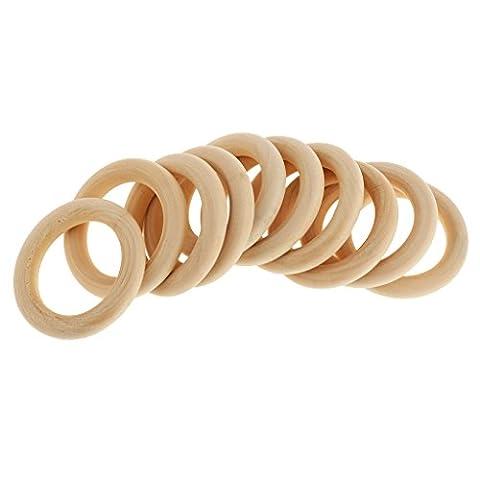 Generic 10pcs Unbehandelten Holz Lose Perlen DIY Armband Halskette Zubehör Papasliebchen Holzring natur - 5cm
