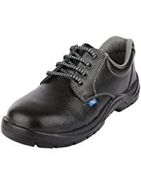 Allen Cooper Men's Black & Grey Leather Safety Shoes - 10 UK