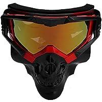 Qii lu Skull Skibrillen Maske Staubdicht Winddicht Abnehmbar Snowboard Reiten Schneemobil(Rot + schwarz)