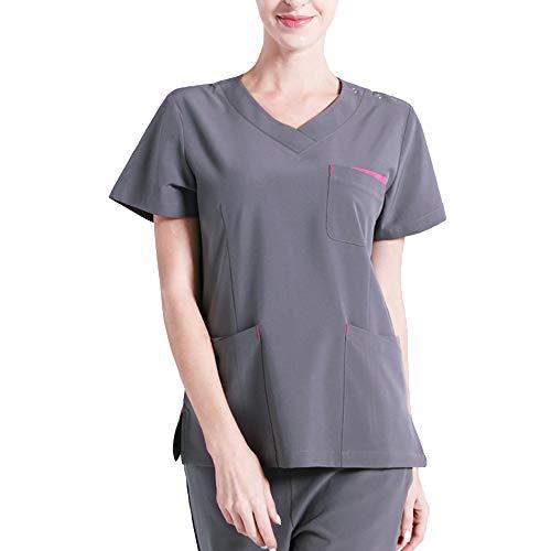 Scrubs Set Medizinische Unisex-Uniformen Mehrere Taschen Moderne klassische Passform Arbeitskleidung Professionelle Krankenhausuniform Hosen und Kurzarmshirts Profis für die Medizin,Rose,S (Tops Rose Scrub)